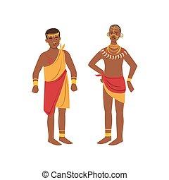 indigène, hommes, tribu, loincloth, deux, africaine