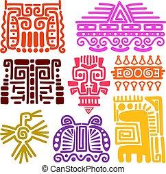 indigenas, americano, antiga, totens
