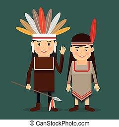 indigenas, americano, vetorial, crianças
