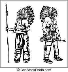 indigenas, estilo, jogo, americano, monocromático