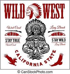 indigenas, jogo, etiquetas, americano, vetorial, apache,...