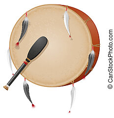 indigenas, tambourine, vetorial, americano, ilustração