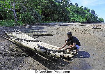 indigeno, fijan, uomo, costruzione, uno, tradizionale, fijian, bambù, barca