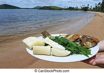 indigeno, fijian, frutti mare, e, verdura, piatto, pietanza, figi