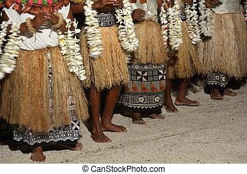 indigeno, fijian, persone, cantare, e, ballo, in, figi