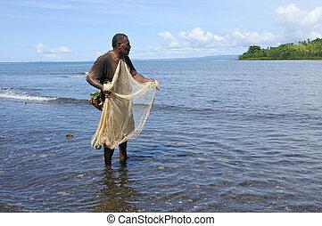 indigeno, fijian, pescatore, pesca, con, uno, rete pesca, in, figi