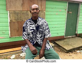 indigeno, fijian, uomo anziano