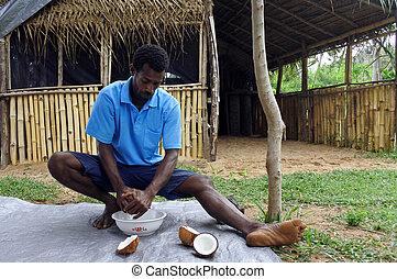 indigeno, fijian, uomo, sbucciando, uno, noce di cocco, frutta, in, figi