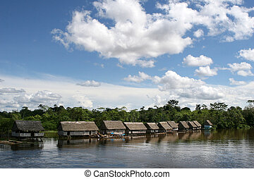 Indigenous House - An indigenous house in the Amazon river...
