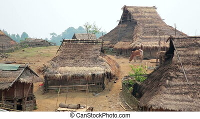 indigenous native tribal culture of Akha tribe village,...