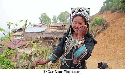 indigenous native tribal people, Akha tribe village, Pongsali, Laos