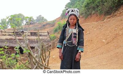 indigenous native tribal people, Akha tribe village,...