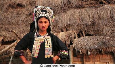 indigenous native tribal woman, Akha tribe village,...