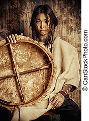 indigenous - Art portrait of the American Indian. Ethnicity....