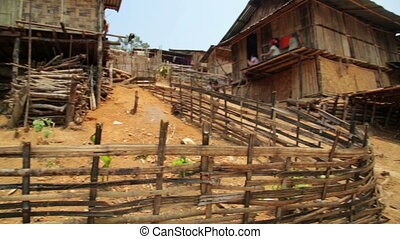indigenous tribal culture of Akha tribe village, Pongsali,...