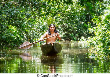 Indigenous Wooden Canoe - Indigenous Adult Man On Typical ...