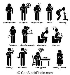 Indigestion Symptoms Problem - A set of human pictogram...