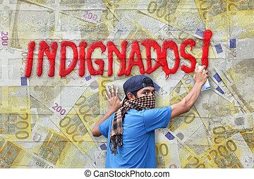 indignados, graffiti, euro