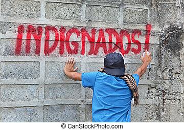 indignados, graffiti, protestataire