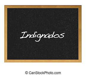 Indignant. - Isolated blackboard with indignant.