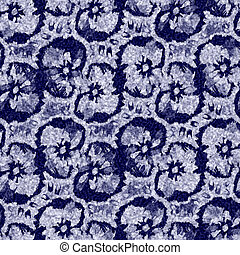 Indigo blue batik dyed pansy flower effect texture background. Seamless japanese repeat pattern swatch. Painterly floral motif bleach dye. Masculine asian fusion all over kimono textile cloth print.