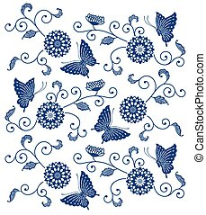 Indigo blue floral pattern with butterflies