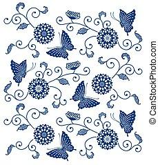 Indigo blue floral pattern with butterflies
