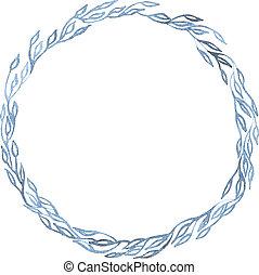 Indigo blue hand drawn frame, vector illustration