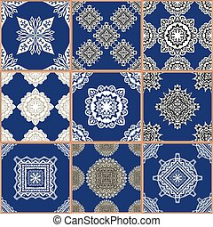 Tiles Floor Ornament Collection - Indigo blue Tiles Floor...