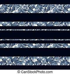 Indigo Floral Stripes - Digital photo collage and...