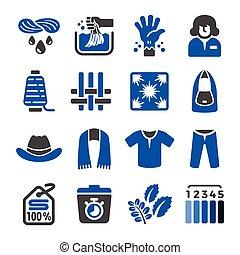 indigo icon - indigo dye fabric icon set