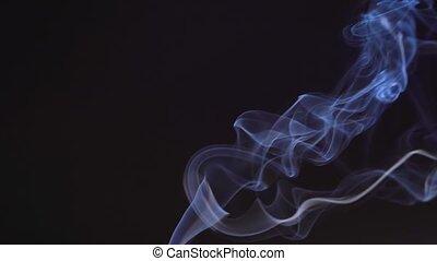 indigo., isolé, arrière-plan., brouillard, haut, en mouvement, couleur, fumée, différent, brume, bleu, air, noir, dissolves, formes, beautifully