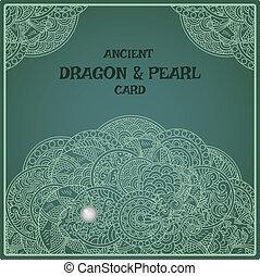 indigo, oriental, pérola, dragão, cartão