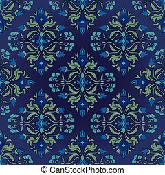 Oriental, floral ornament with damask. Templates for carpet, textile, wallpaper, shawl and any surface. Seamless vector pattern on a blue background.
