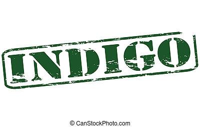 Indigo - Rubber stamp with word indigo inside, vector...