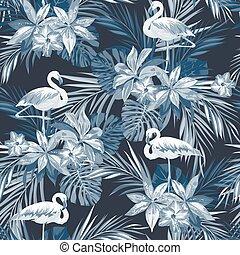 Indigo tropical summer seamless pattern with flamingo birds...