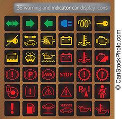 indikátor, állhatatos, ikonok, autó, figyelmeztetés, bemutatás
