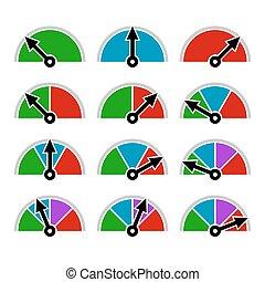 indikator, satz, farbe, diagramm, vektor, schablone, design.