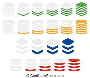 indikator, vertikal, plan, sequence., symboler, framsteg
