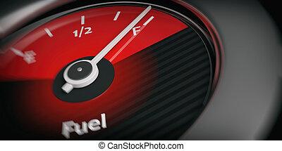 indikator, voll, auto, übertragung, kraftstoff, 3d