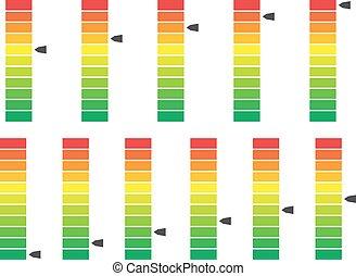indikator, wasserwaage, farbe, vektor, codiert, fortschritt,...