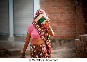 indio, aldeano, mujer, en, velo