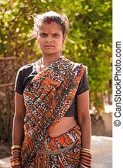 indio, aldeano, mujer