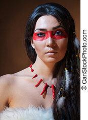 indio americano, con, pintura, cara, camuflaje