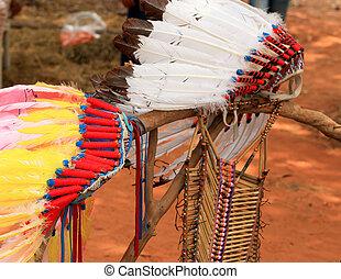 indio americano, jefe, tocado, nativo