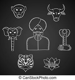 indio, animales, y, símbolos nacionales