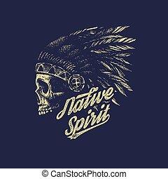indio, dibujo, estilo, mano, jefe, cráneo