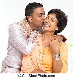 indio, familia , hijo, besar, madre