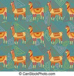 indio, gente, dibujo, color, resumen, lamas, patrón, nacional, geométrico, verde, seamless, tribes., fondo., ornamento, estilo, fantasía, arte, formas