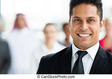 indio, hombre de negocios, cicatrizarse